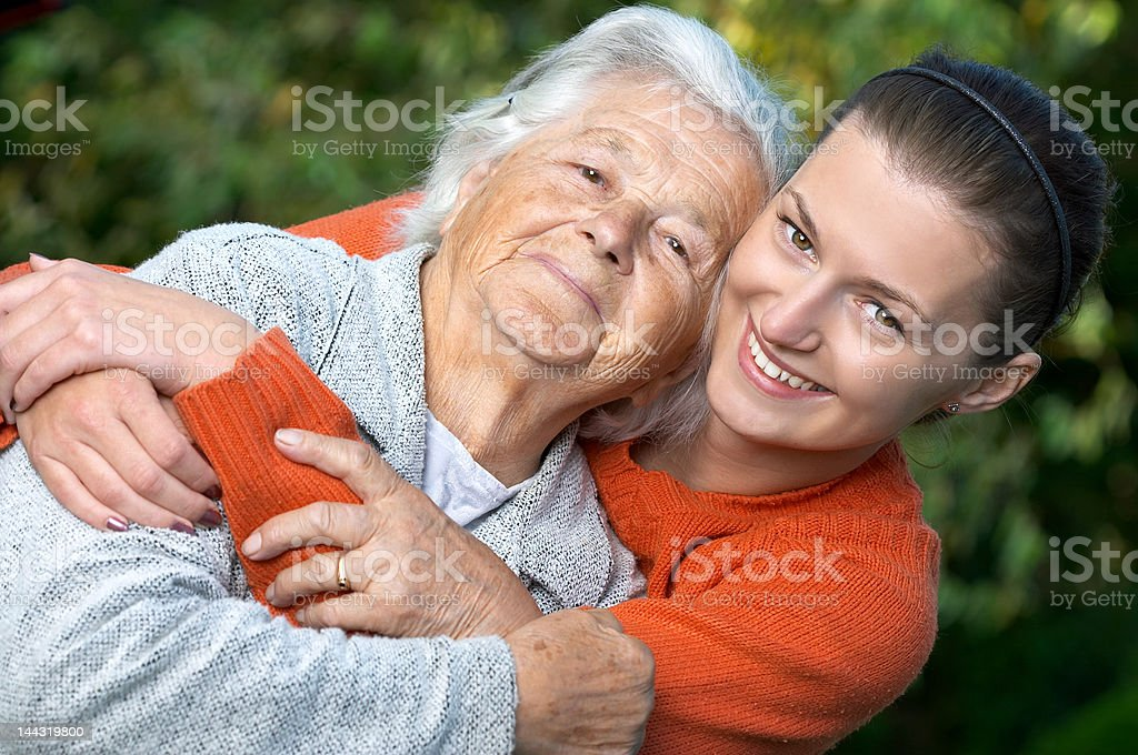Granddaughter and grandmother royalty-free stock photo
