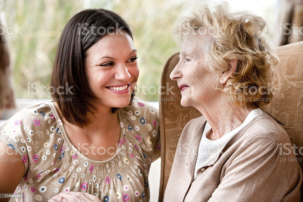 Grand-daughter and Grandmother royalty-free stock photo