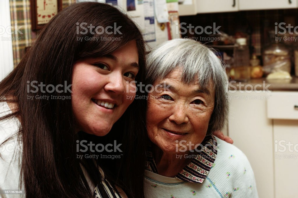 Granddaughter with her Grandma stock photo