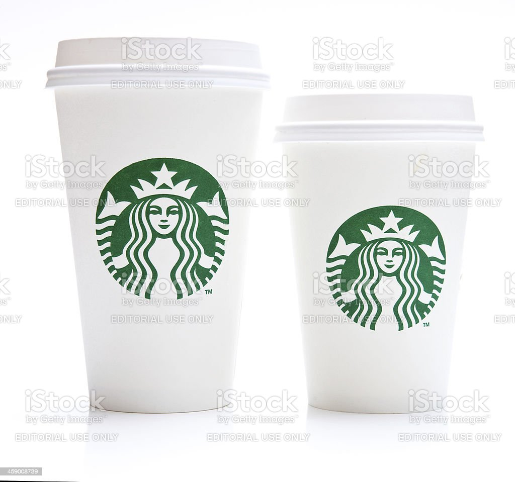 Grande and Tall Starbucks Coffee Cup royalty-free stock photo