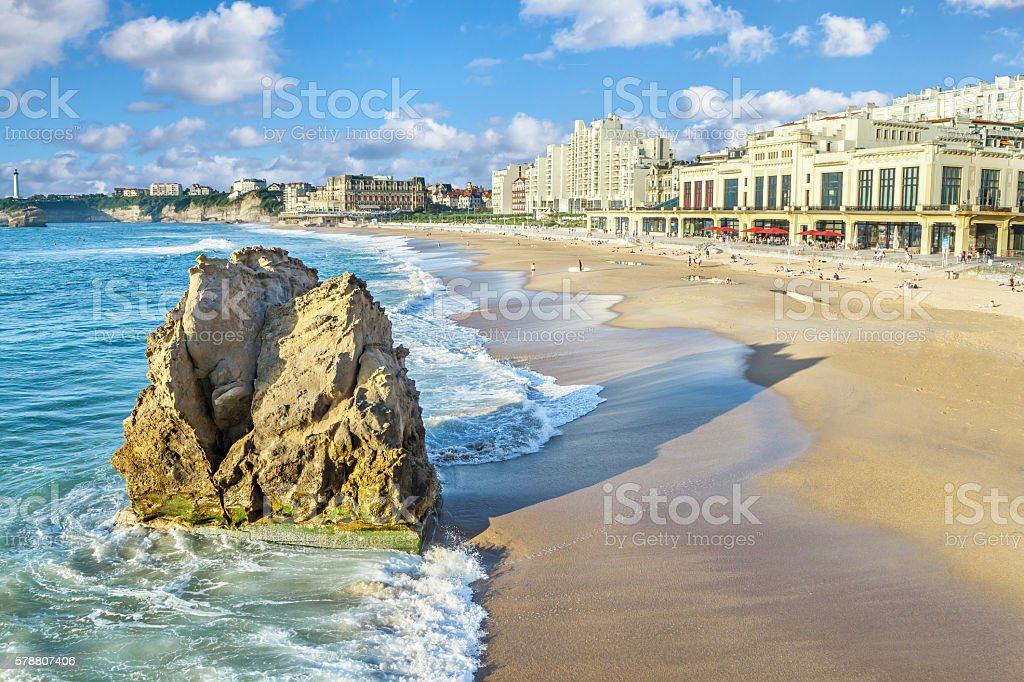 Grande Plage beach in Biarritz stock photo