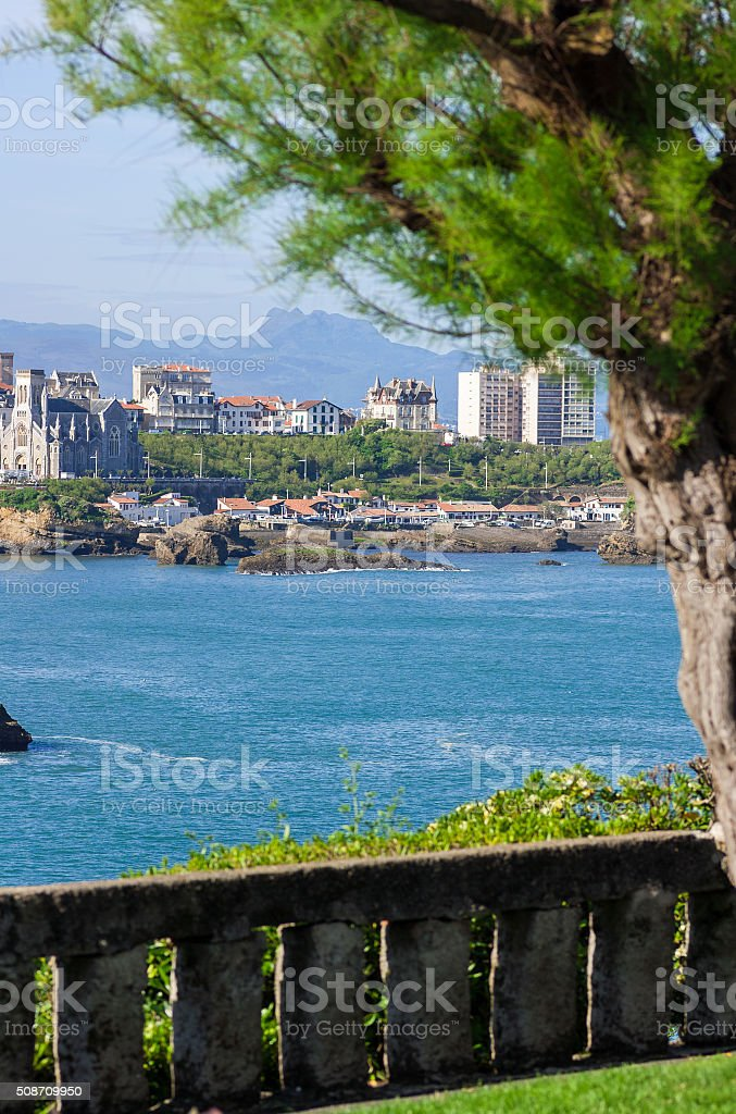 Grande Plage of Biarritz in the Bay of Biscay stock photo
