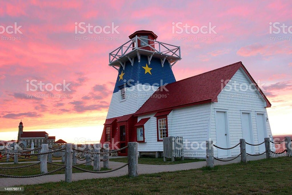 Grande-Anse Lighthouse at sunset stock photo