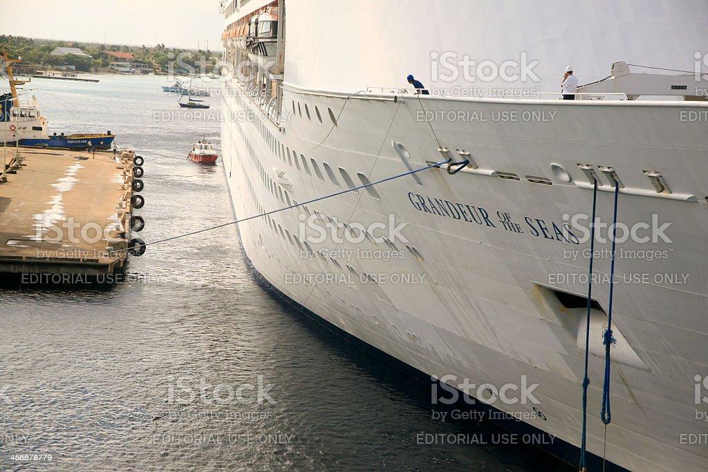 Grandeur of the Seas, Being Moored at Kralendijk, Bonaire stock photo