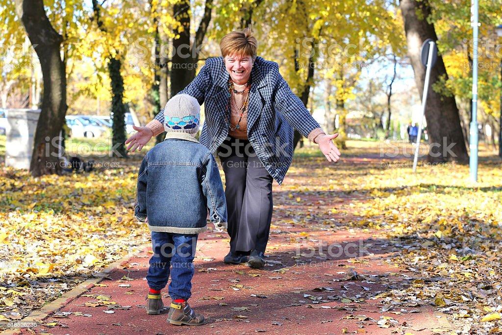 Grandfather and grandchild stock photo