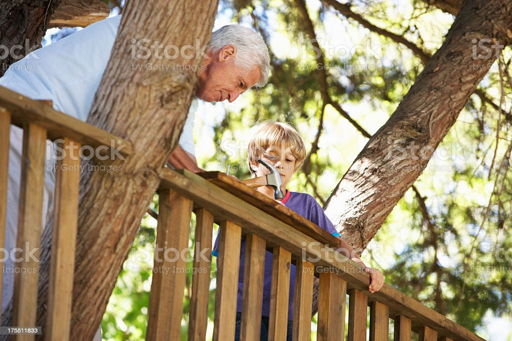 Grandfather And Grandson Building Tree House Together stock photo
