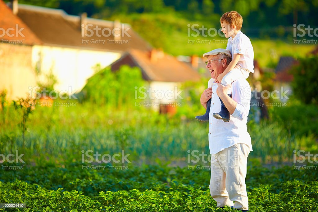 grandfather and grandson having fun on their homestead stock photo