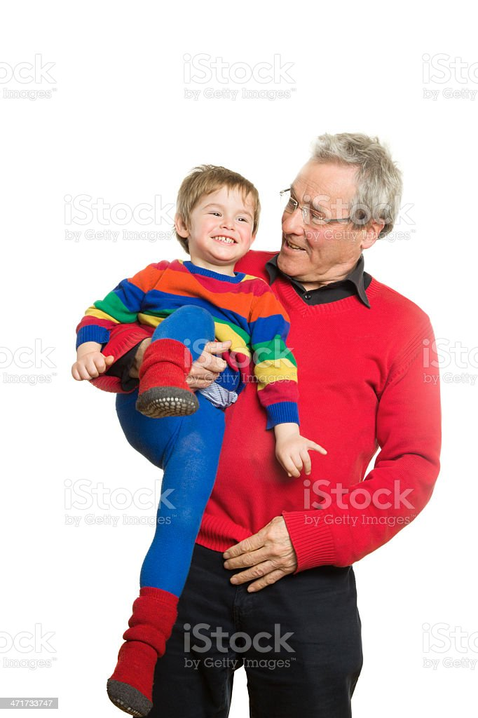 Grandfather and grandson playing royalty-free stock photo