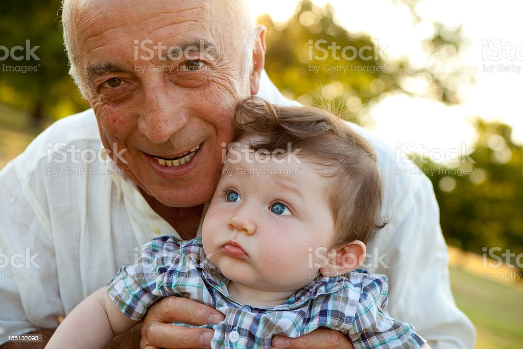 Grandfather and nephew close up royalty-free stock photo
