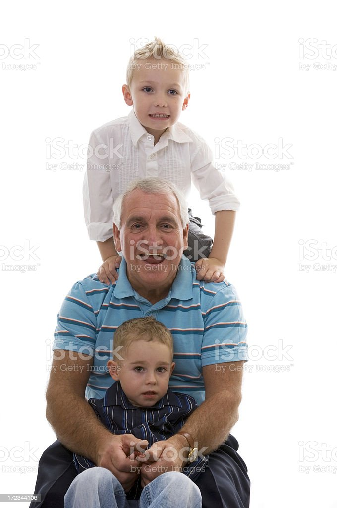 grandfather and two grandsons royalty-free stock photo