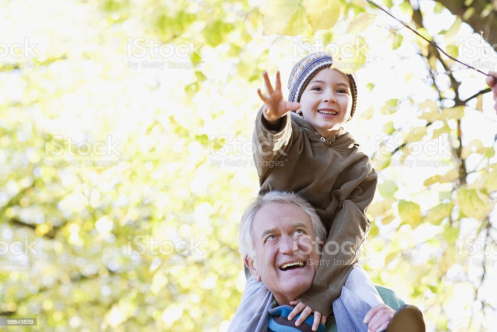 Grandfather carrying grandson on shoulders stock photo