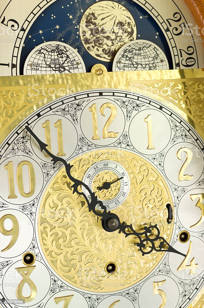 Grandfather Clock Face and Moon Dial stock photo