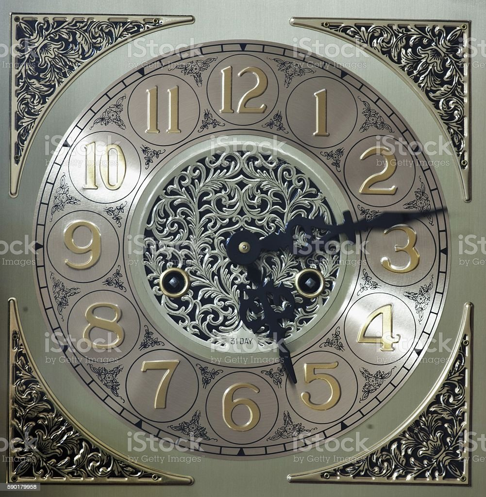 Grandfather clock face stock photo