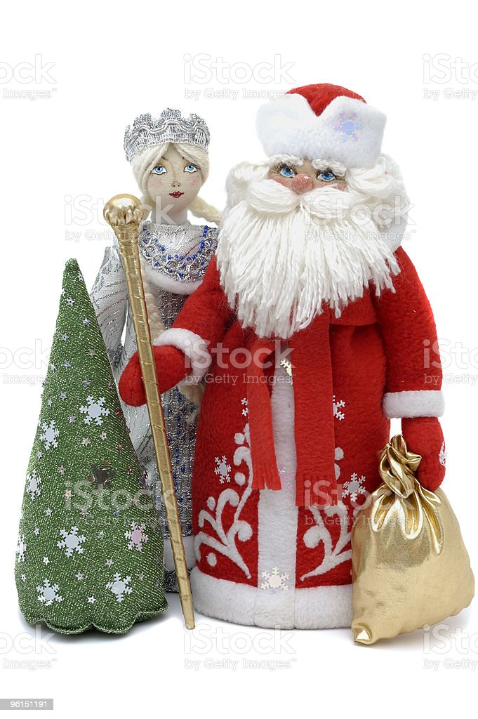 Grandfather Frost with Snowmaiden and Christmas tree royalty-free stock photo