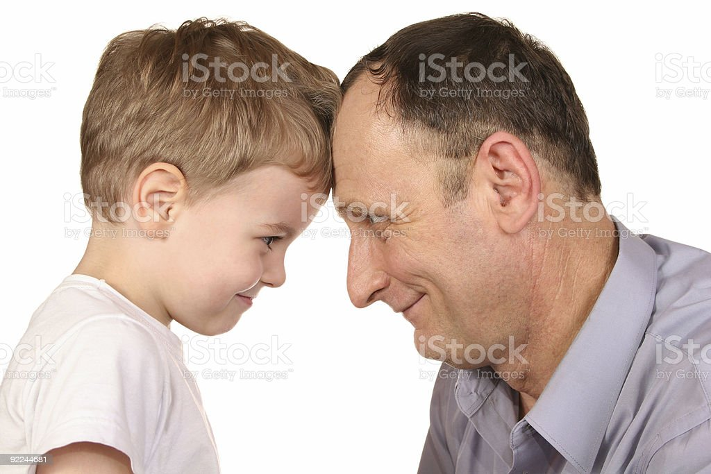 grandfather grandson forehead royalty-free stock photo