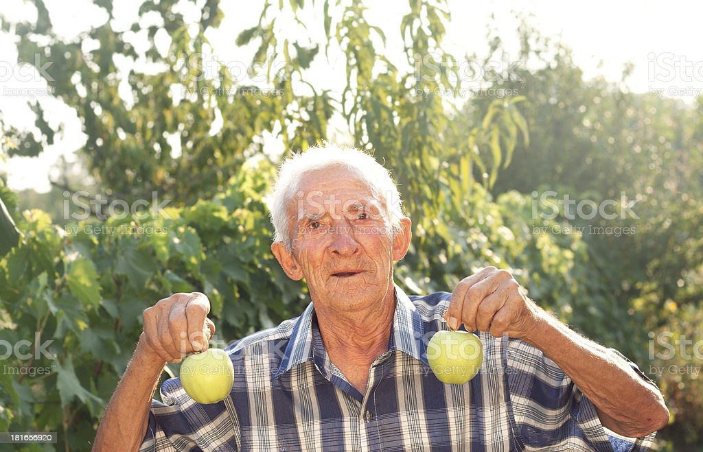 grandfather holding an apples royalty-free stock photo