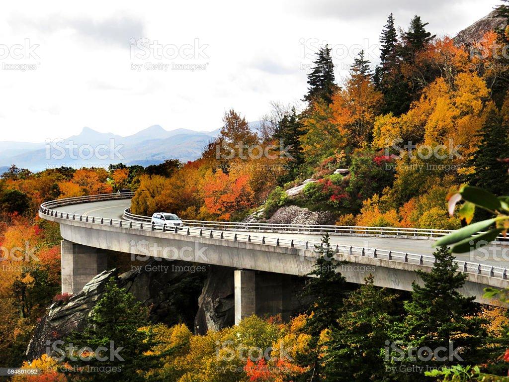 Grandfather Mountain Linn Cove Viaduct In Fall stock photo