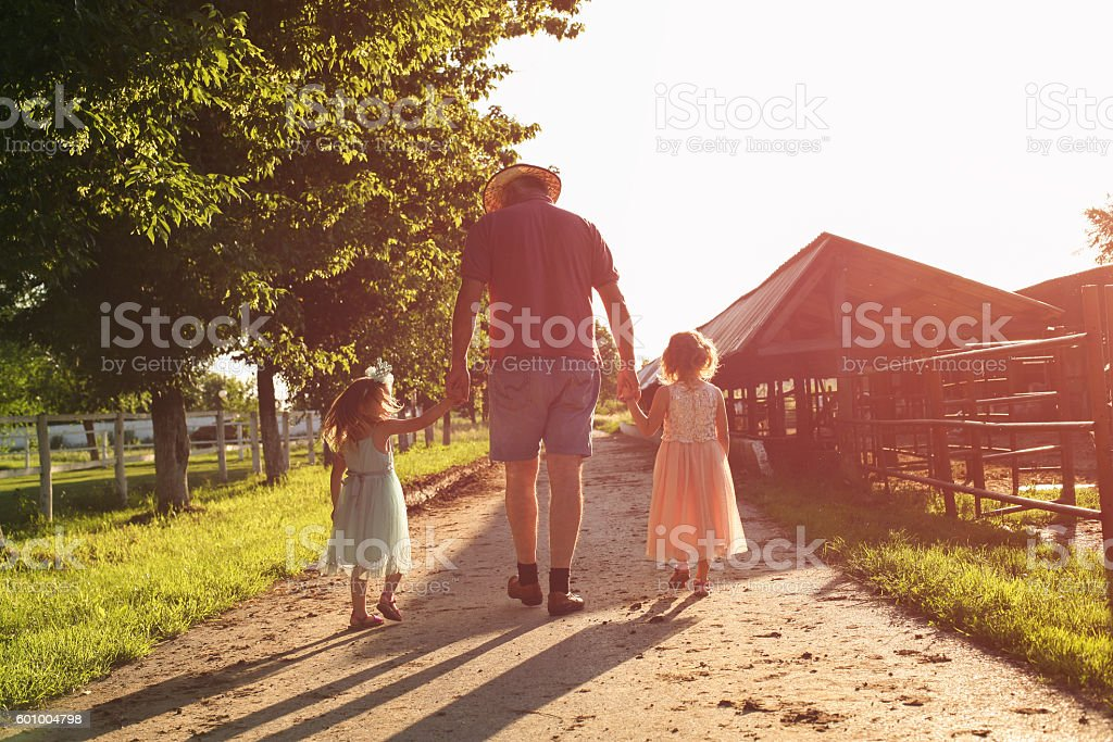 Grandfather walking with his granddaughters on the farm. stock photo