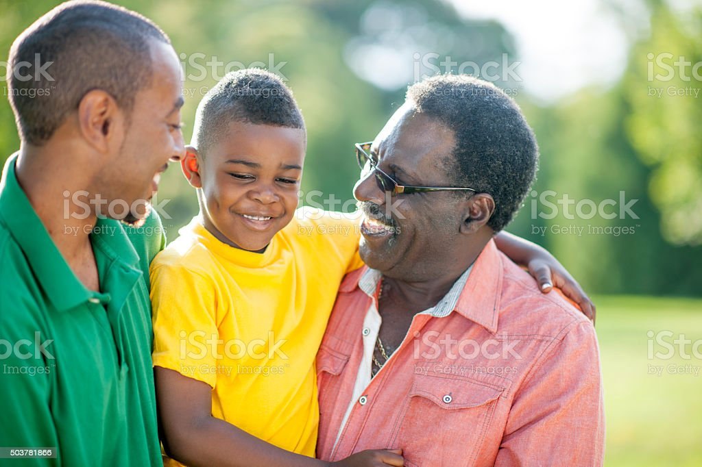 Grandfather with his Grandson stock photo