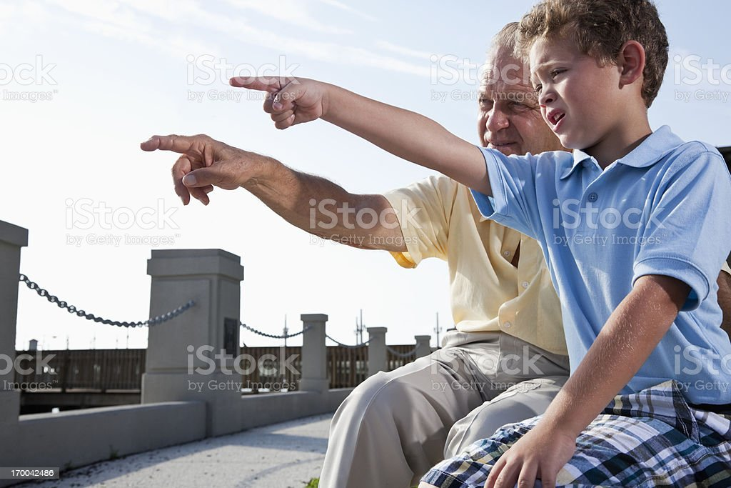 Grandfather with little boy watching and pointing together stock photo