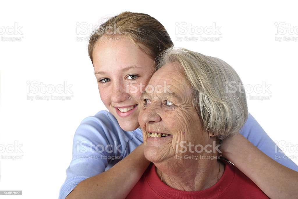 Grandma and Granddaughter royalty-free stock photo