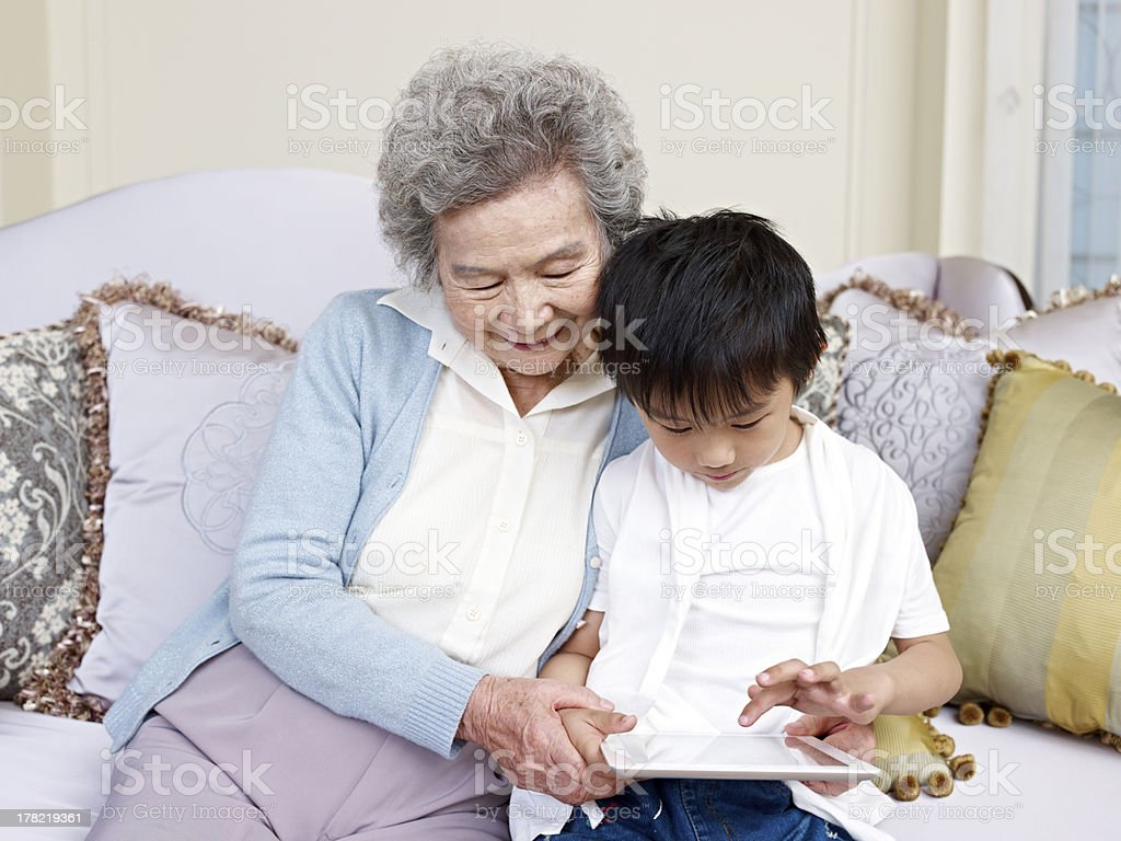 grandma and grandson royalty-free stock photo