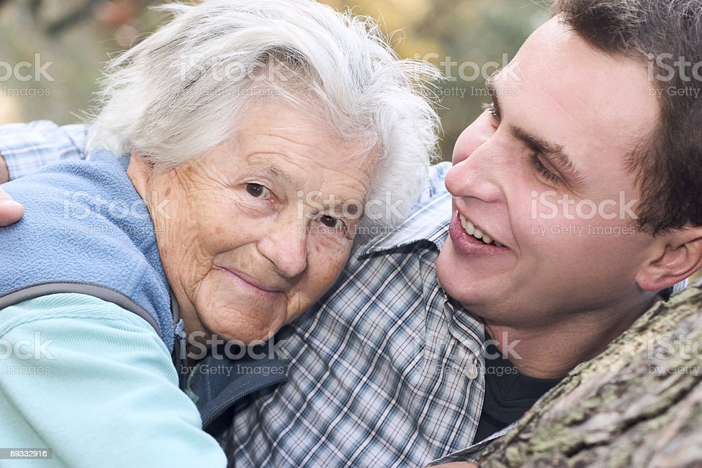 Grandma and her grandson royalty-free stock photo