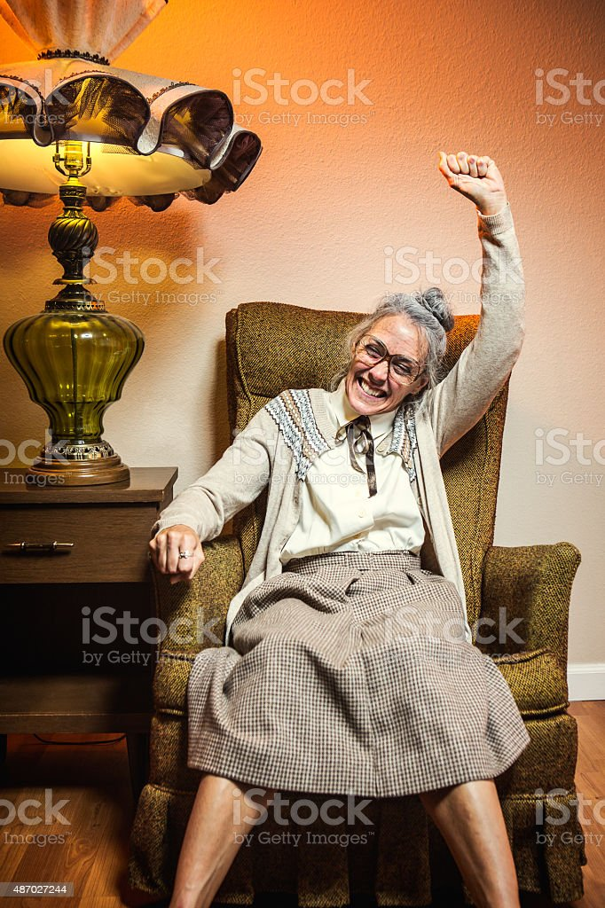 Grandma Celebrates Victory stock photo