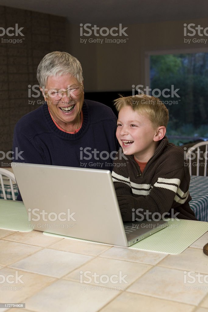 Grandma Computer Lesson III royalty-free stock photo