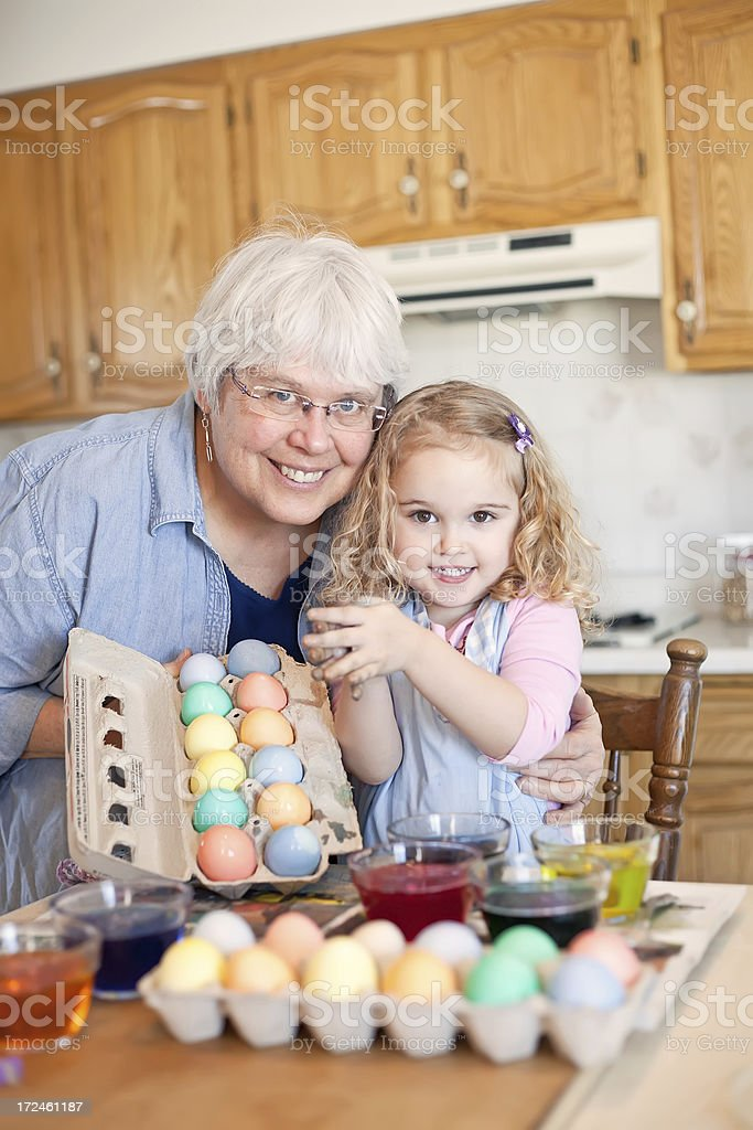 Grandma & Granddaughter with Easter Eggs royalty-free stock photo