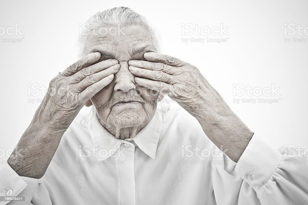 grandma is blind stock photo