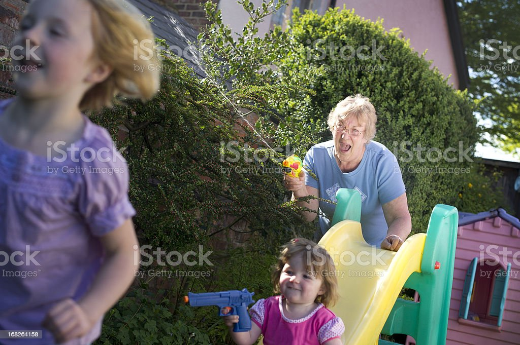 Grandma joining in the fun royalty-free stock photo