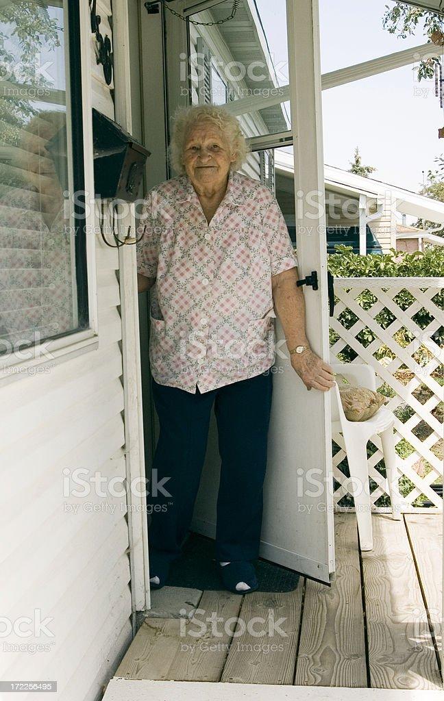 grandma on the porch royalty-free stock photo