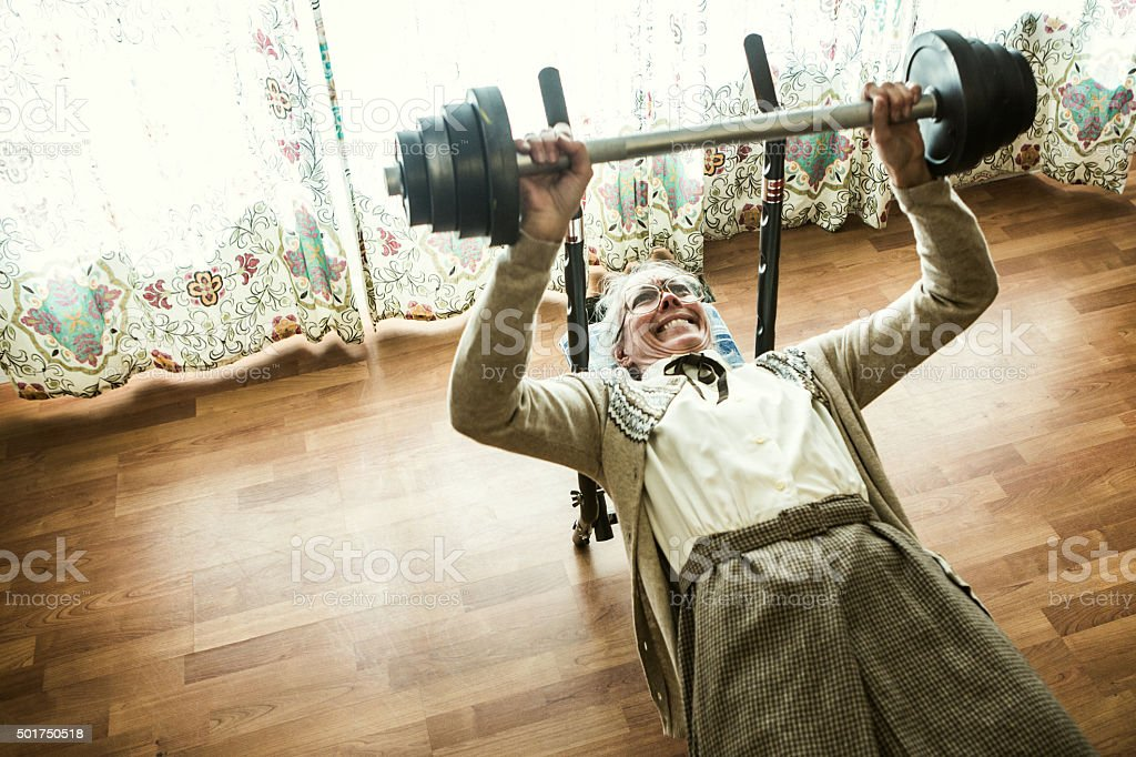Bench Press Body Building Exercising Weight Training Active Seniors Grandma Weightlifting In Living Room