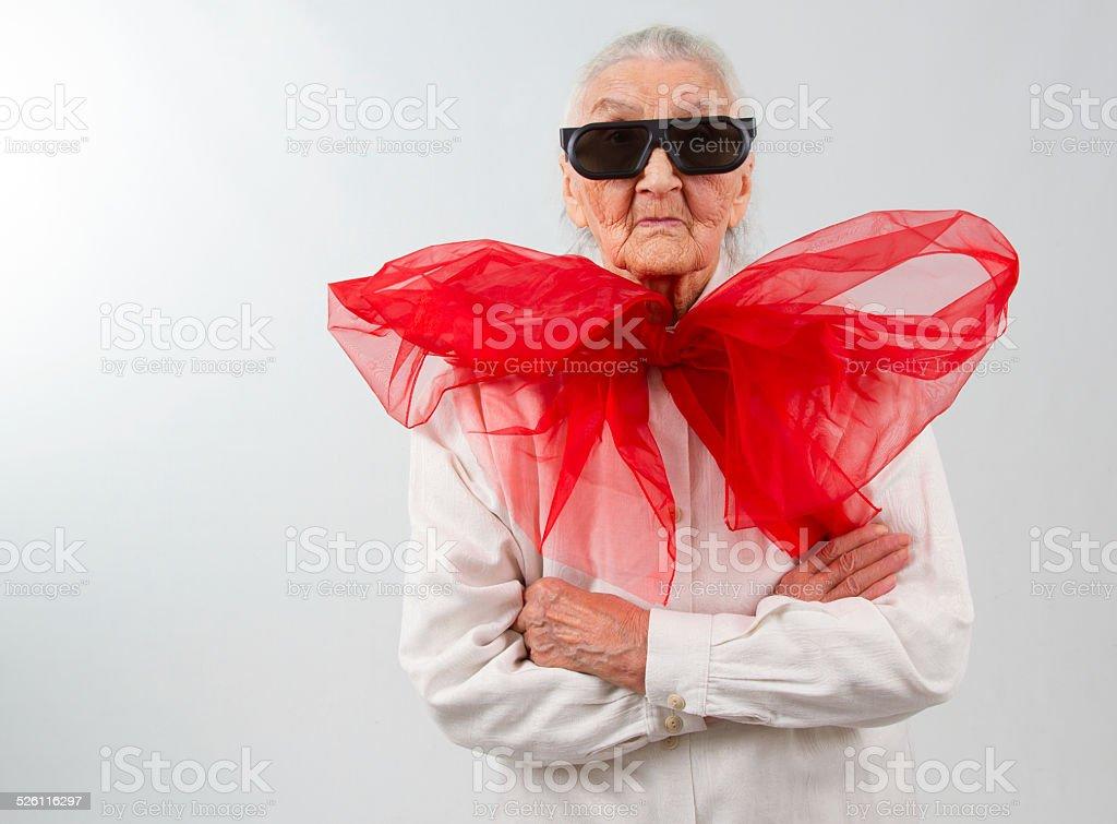 grandma with a bizarre style stock photo