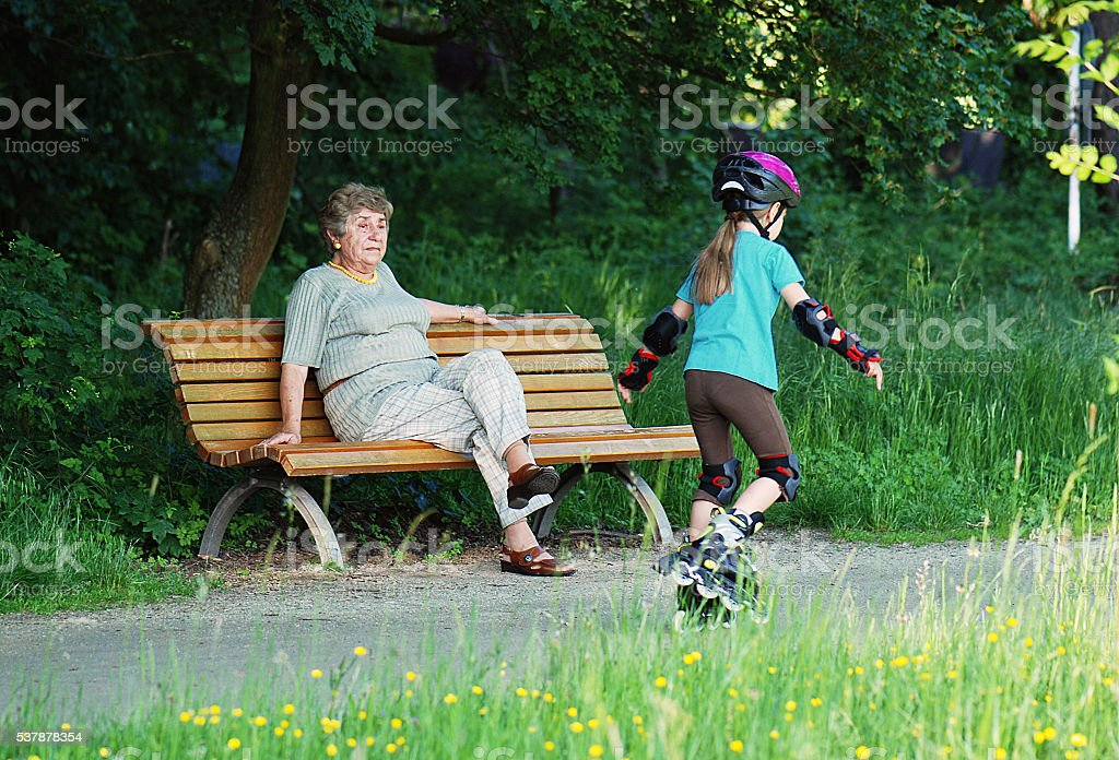 grandma with grandchild stock photo