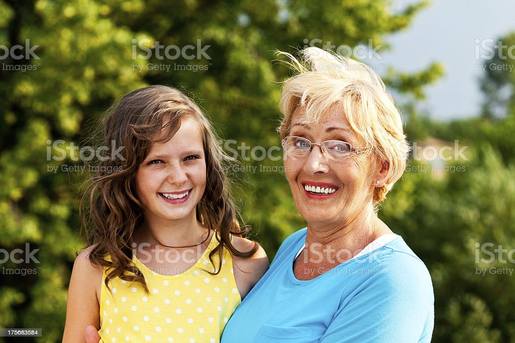 Grandma with granddaughter royalty-free stock photo