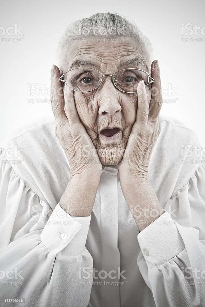 grandma with open mouth stock photo