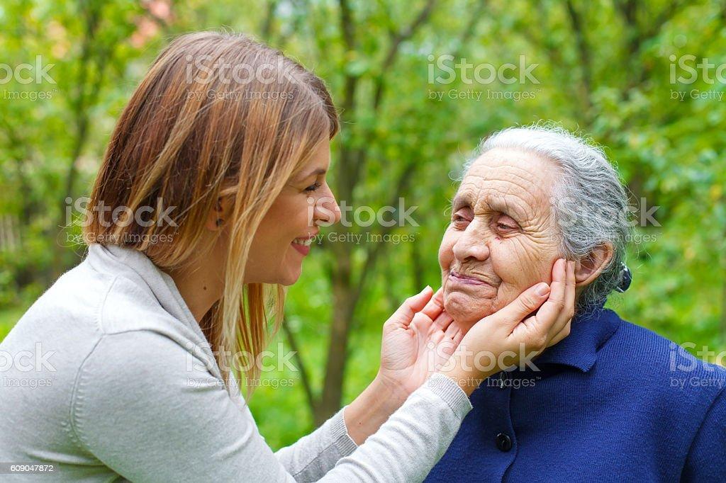 Grandma-grandchild quality time stock photo