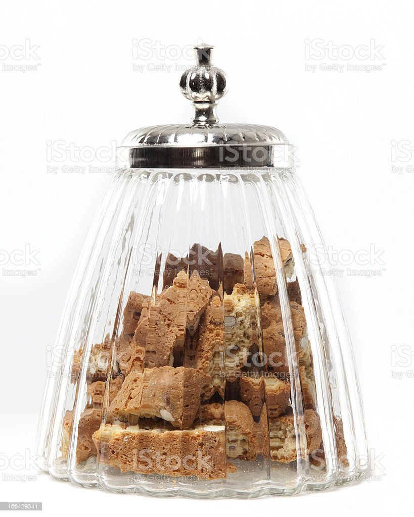 grandma's cookie jar with cantuccini stock photo