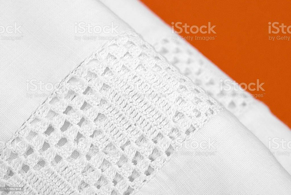 Grandma's linen on red royalty-free stock photo