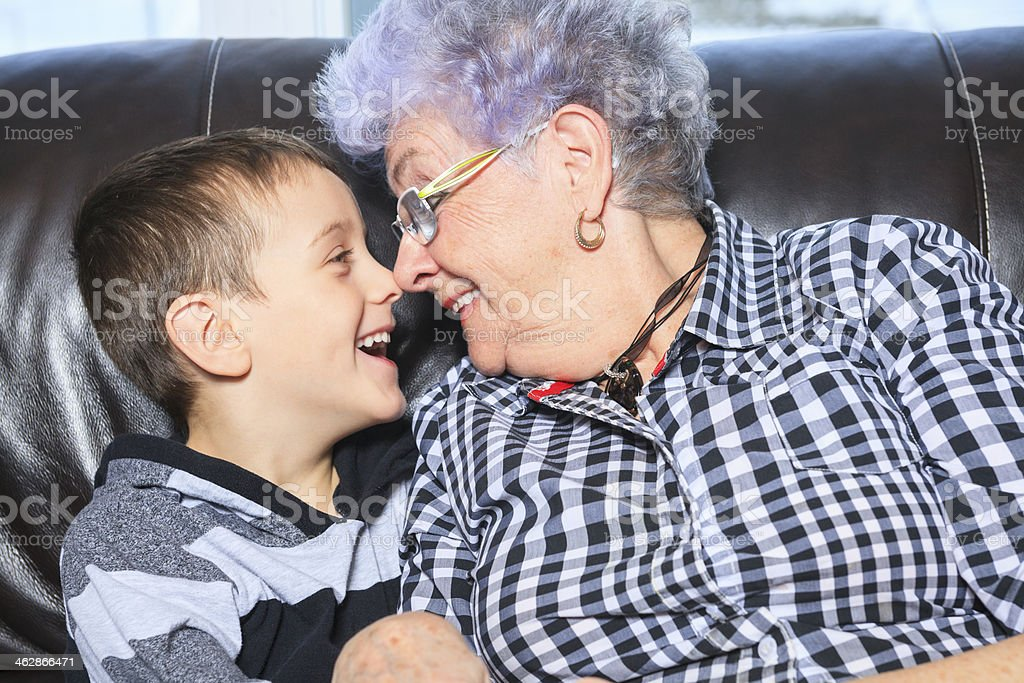 Grandmother and Child - Nose royalty-free stock photo