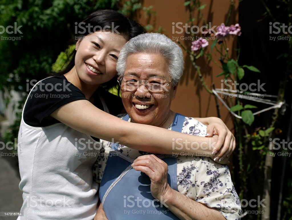 grandmother and daughter royalty-free stock photo