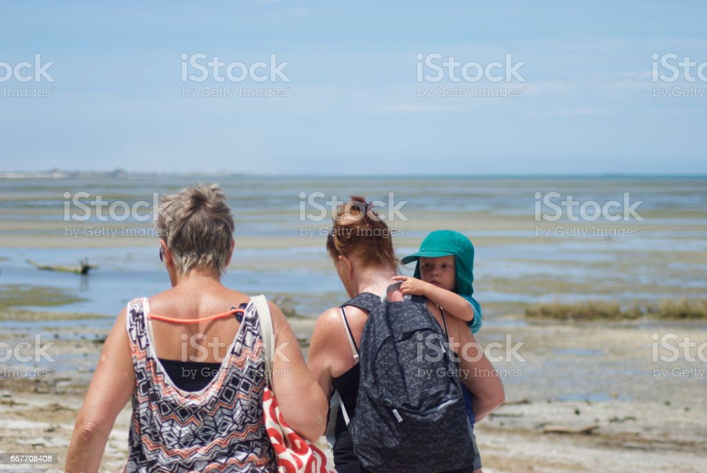 Grandmother and Friend with Grandchild at the Beach. stock photo