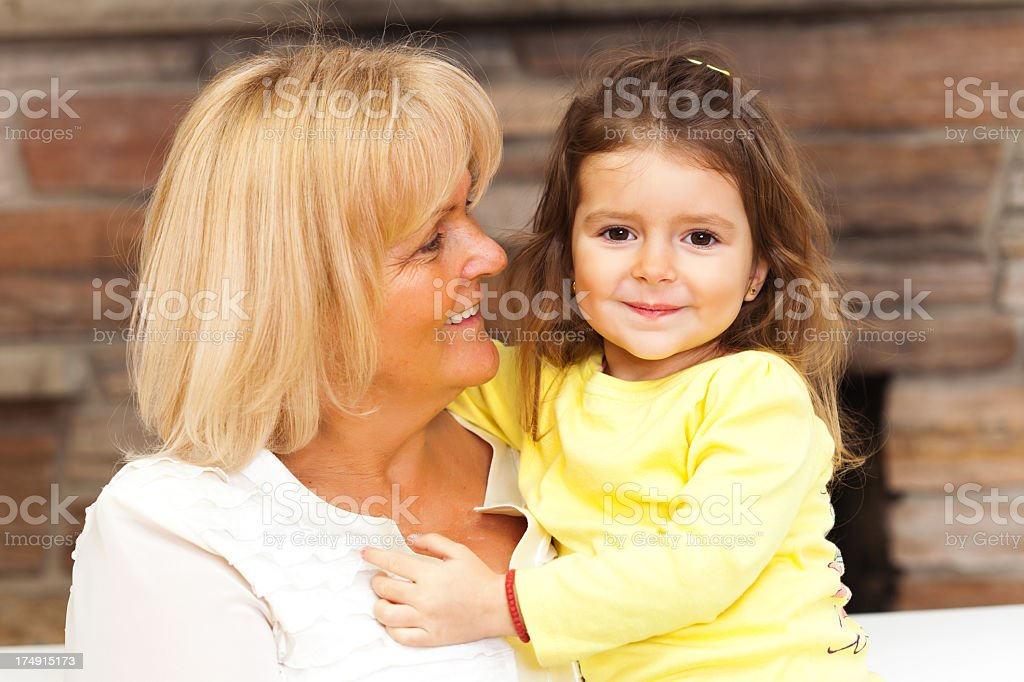 Grandmother and grandaughter royalty-free stock photo