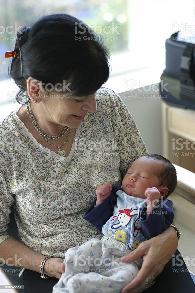 Grandmother and grandchild stock photo