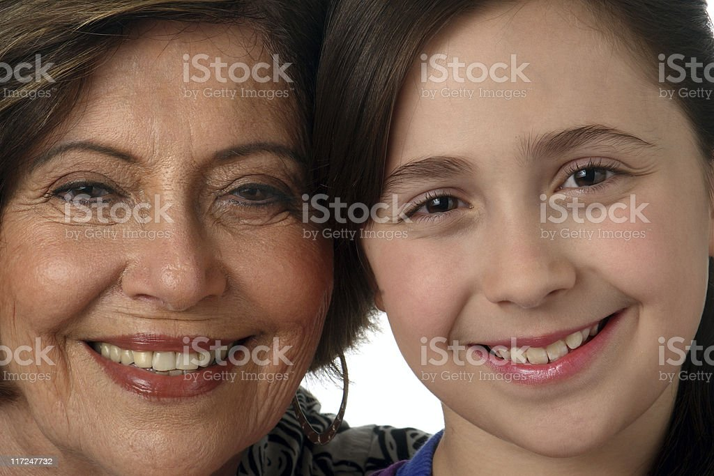 Grandmother and granddaughter happy royalty-free stock photo