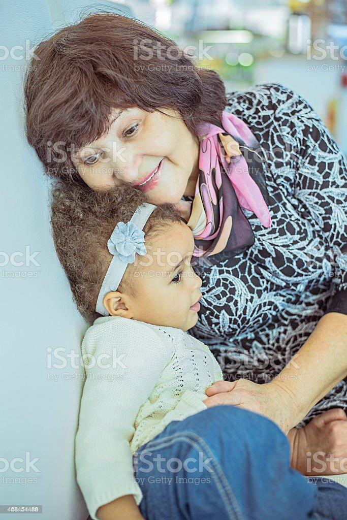 Grandmother and Granddaughter stock photo