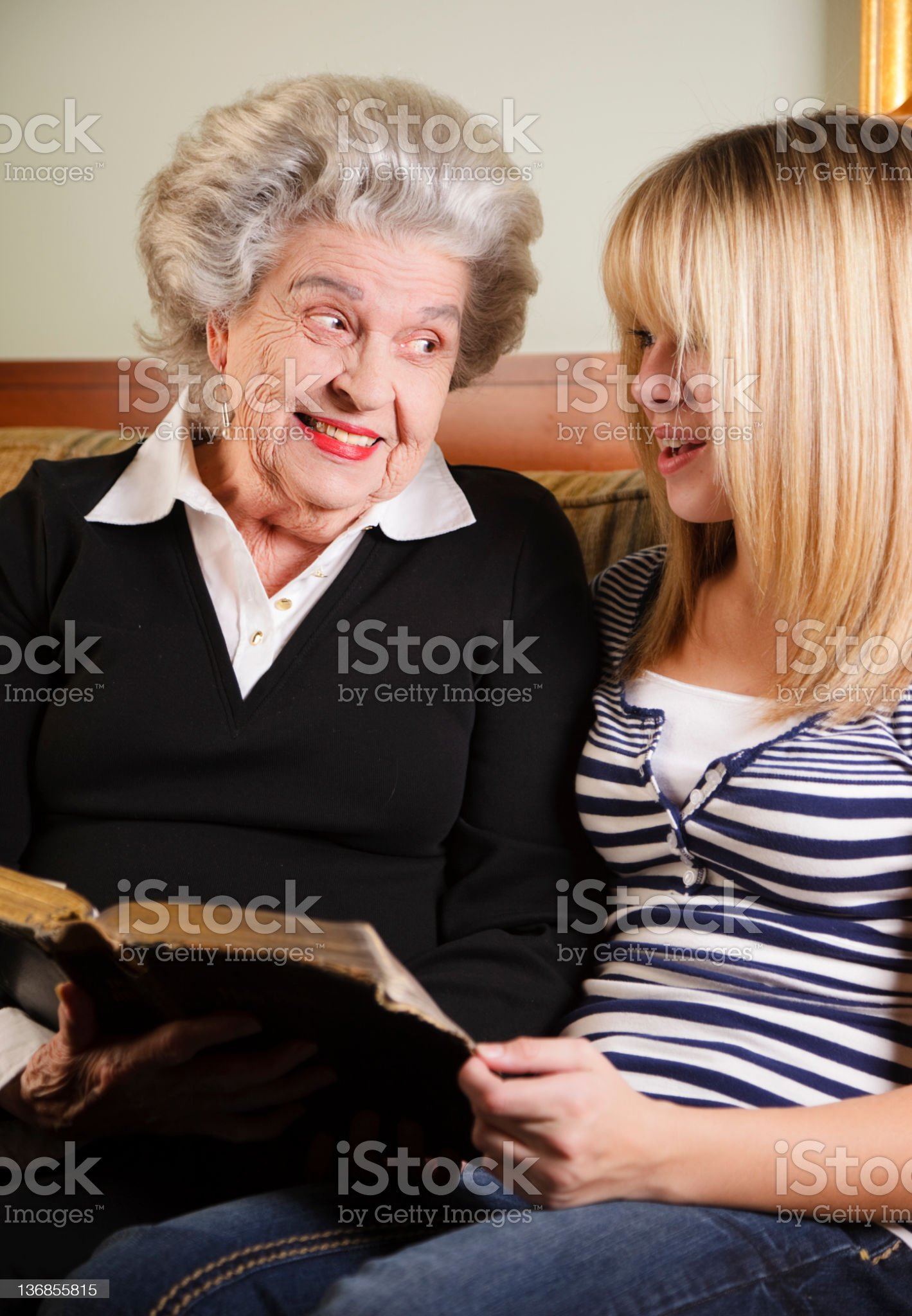 Grandmother and Granddaughter Reading Bible royalty-free stock photo