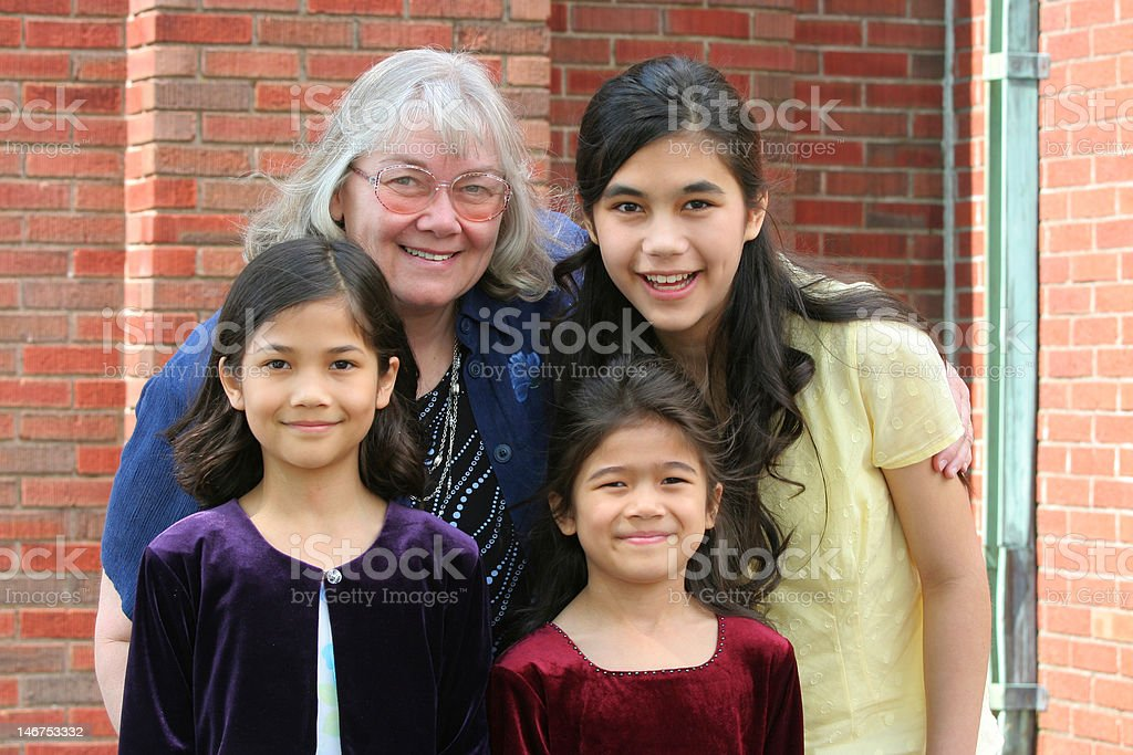 Grandmother and granddaughters royalty-free stock photo